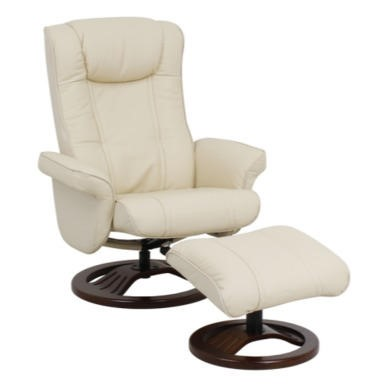 Global Furniture Alliance  London Leather Swivel Recliner & Footstool in Cream