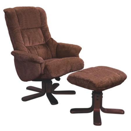 Shangri La Chenille Fabric Swivel Recliner & Footstool in Chocolate