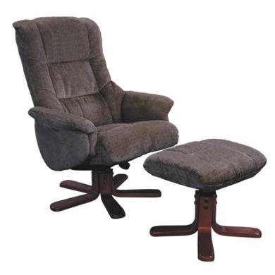 Shangri La Chenille Fabric Swivel Recliner & Footstool in Mink