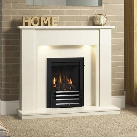 Be Modern Elda White Marble Fireplace Surround with LED Lights - 48 inches