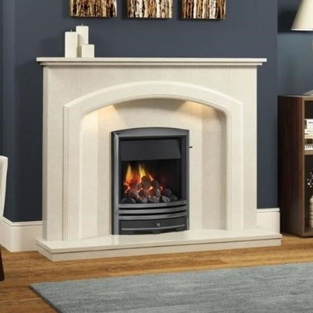 Be Modern Andorra Cream Marble Fireplace Surround with LED Lights - 52 inches