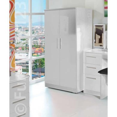 GRADE A2- Hatherley High Gloss 2 Door Low Wardrobe in White