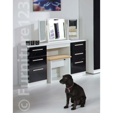 GRADE A4 -  Welcome Furniture Hatherley High Gloss Large Dressing Table in Black and White - white with black front