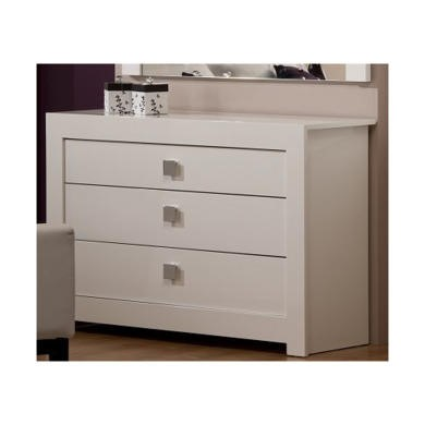 GRADE A2 - World Furniture Bari High Gloss White 3 Drawer Chest