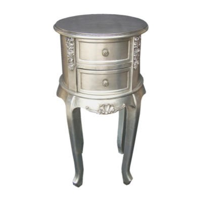 GRADE A3 - Wilkinson Furniture Dauphine Round Night Table in Silver