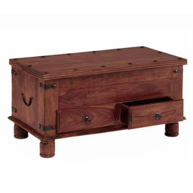 GRADE A3 - Heritage Furniture UK Delhi Indian 2 Drawer Blanket Box