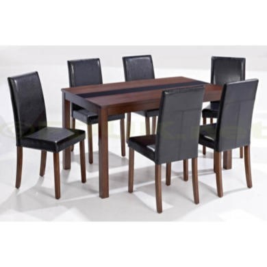 GRADE A1 -  LPD Ashford Large Walnut Veneer Dining Set with Black Chairs - As New