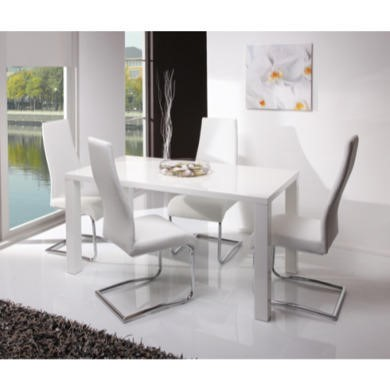 GRADE A2  Wilkinson Furniture Neos Dining Medium Dining Table in White High Gloss