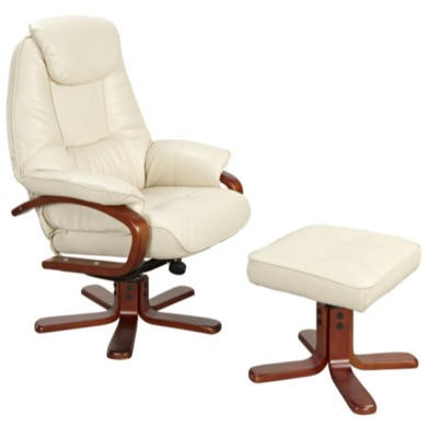 GRADE A1 - Global Furniture Alliance  Macau Bonded Leather Swivel Recliner & Footstool in Cream - As New