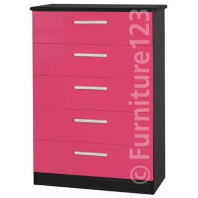 GRADE A2  Welcome Furniture Hatherley High Gloss 5 Drawer Chest in Black and Pink