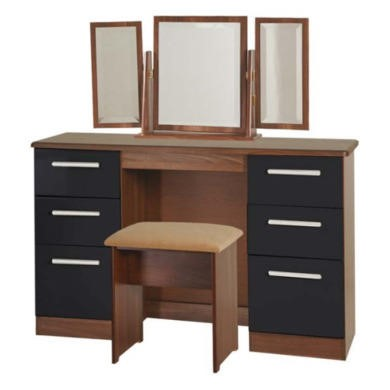 GRADE A2  Welcome Furniture Hatherley High Gloss Large Dressing Table in Walnut and Black