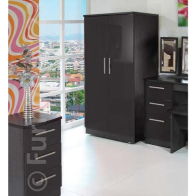 GRADE A2   Welcome Furniture Hatherley High Gloss 2 Door Low Wardrobe in Black