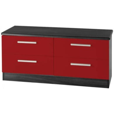 GRADE A2 - Welcome Furniture Hatherley High Gloss 4 Drawer Wide Chest in Black and Red
