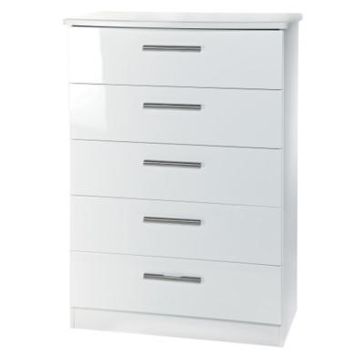 GRADE A2 - Welcome Furniture Hatherley High Gloss 5 Drawer Chest in White