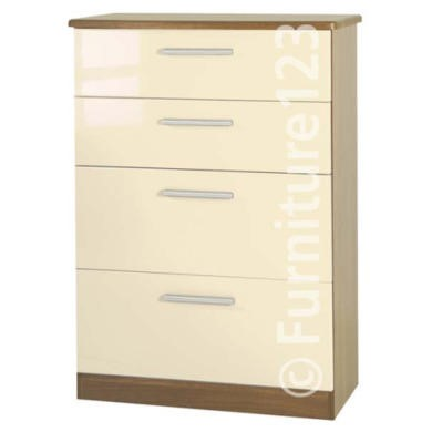 GRADE A2  Welcome Furniture Hatherley High Gloss Large 4 Drawer Chest in Oak and Cream
