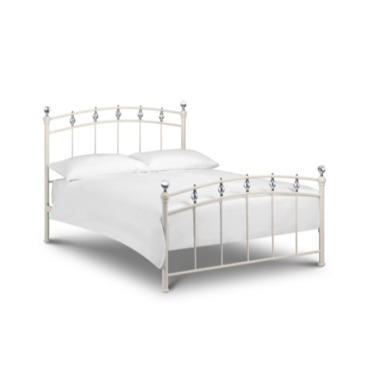 GRADE A3 - Julian Bowen  Sophie Double Bed Frame With Crystal-Effect Finials In White