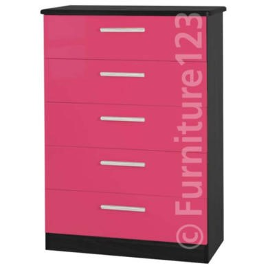 GRADE A3  Welcome Furniture Hatherley High Gloss 5 Drawer Chest in Black and Pink