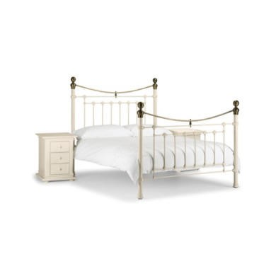 GRADE A1 - Julian Bowen Victoria Metal Double Bed in White