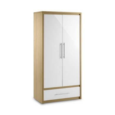 GRADE A1 - Julian Bowen Stockholm 2 Door 1 Drawer Wardrobe in Light Oak and White
