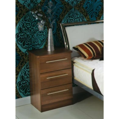 GRADE A3 - Welcome Furniture Loxley 3 Drawer Bedside Table in Walnut