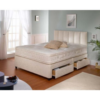GRADE A2 - Dreamworks Beds Sussex De Luxe 1000 Divan and Mattress - kingsize with sprung edge base and 4 drawers