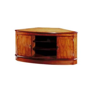 GRADE A3  Kelvin Furniture Georgian Reproduction Bow Corner TV Unit in Mahogany