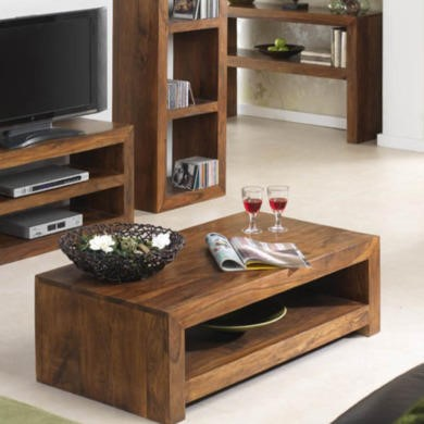 GRADE A3 - Heritage Furniture UK Laguna Sheesham 1 Shelf Coffee Table