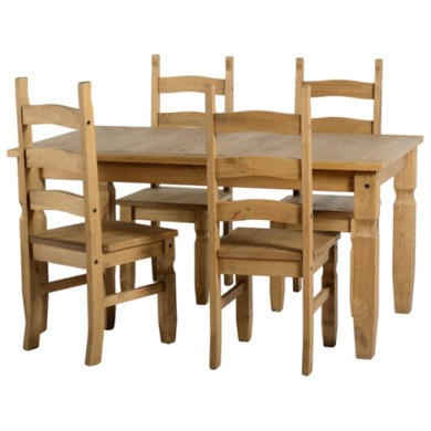 GRADE A1 - Seconique Original Corona Pine Dining Set - Small with 4 Chairs