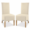 GRADE A2 - Bentley Designs Cream Wing Back Dining Chairs Pair
