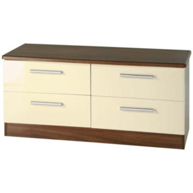 GRADE A1 - Welcome Furniture Hatherley High Gloss 4 Drawer Wide Chest in Walnut and Cream
