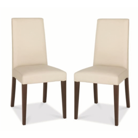 Grade A1 Bentley Designs Akita Pair Of Faux Cream Leather Dining Chairs Furniture123