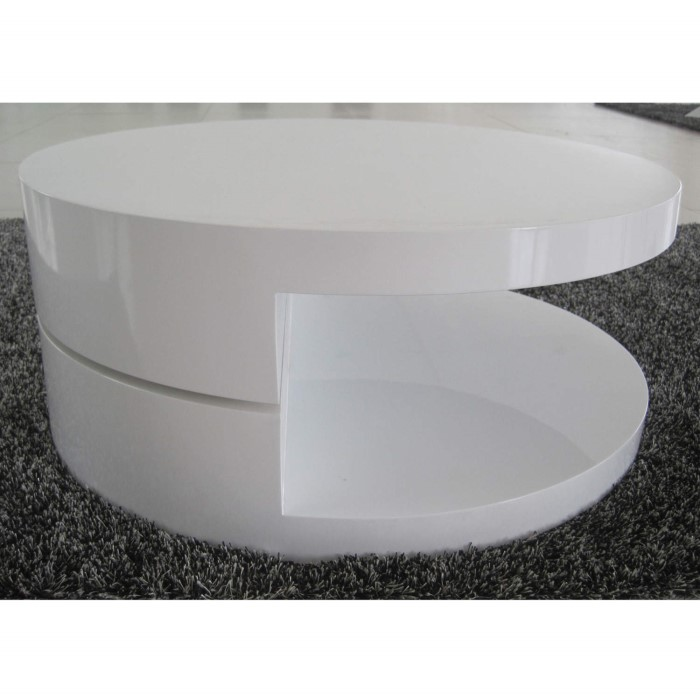 Tiffany Led Round Top White High Gloss Coffee Table Xcm: GRADE A1 -Tiffany High Gloss White Round Rotating Top