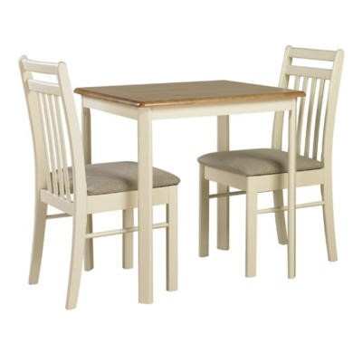 GRADE A2 - Origin Red Ascot Dining Table and 2 Chairs In Oak and Ivory