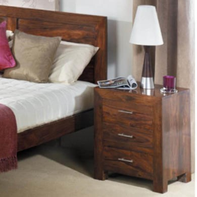 77206969/1/FOL060203 GRADE A1 - Heritage Furniture UK Laguna Sheesham 3 Drawer Bedside Chest - As New