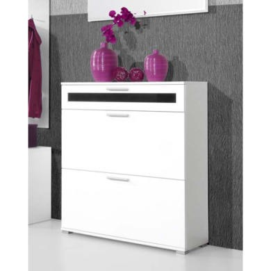 GRADE A2 - Light cosmetic damage - Alaska Shoe Cabinet in White - 16 Pairs