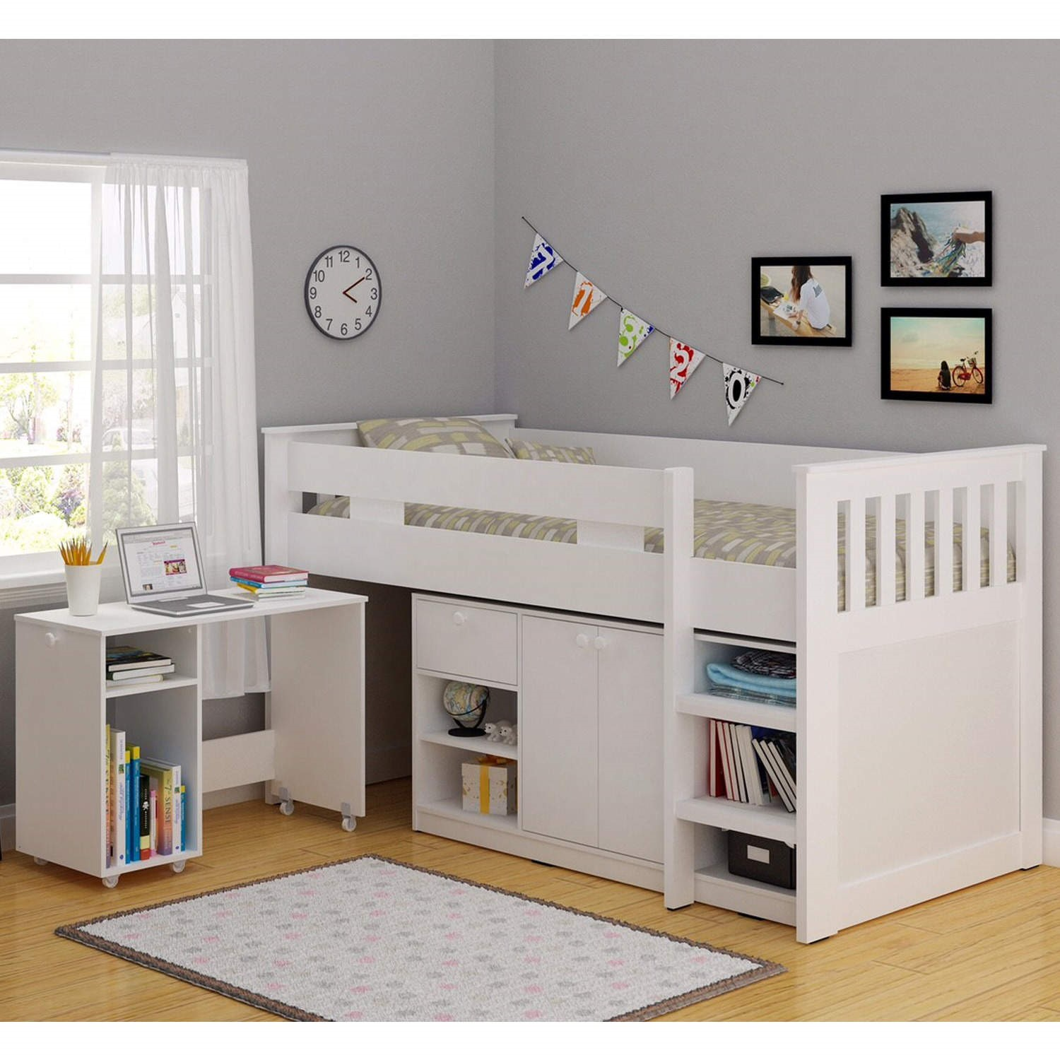 Grade A2 Seconique Merlin Study Mid Sleeper In White