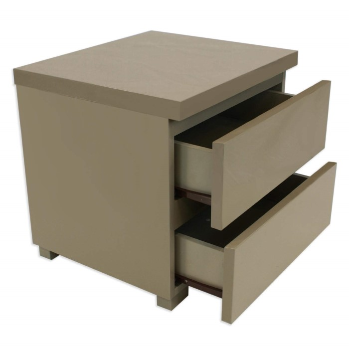 grade a2 lpd puro high gloss bedside table in stone. Black Bedroom Furniture Sets. Home Design Ideas