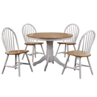 Grade A1 Rhode Island Solid Wood Round Dining Set With 4 Chairs Furniture123