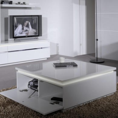GRADE A1 - Skylight Electra High Gloss Square Coffee Table In White