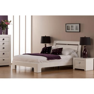 GRADE A2 - World Furniture Bari High Gloss White Double Bed