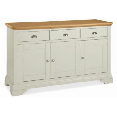 GRADE A1 - Bentley Designs Hampstead Wide Sideboard in Soft Grey and Oak