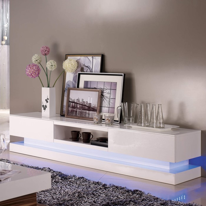 Grade A1 Evoque Led White High Gloss Tv Unit With Lower Lighting Furniture123