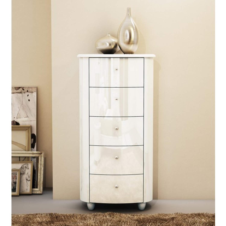 Birlea Furniture Aztec 5 Drawer Narrow Chest In White High Gloss Aztncwht