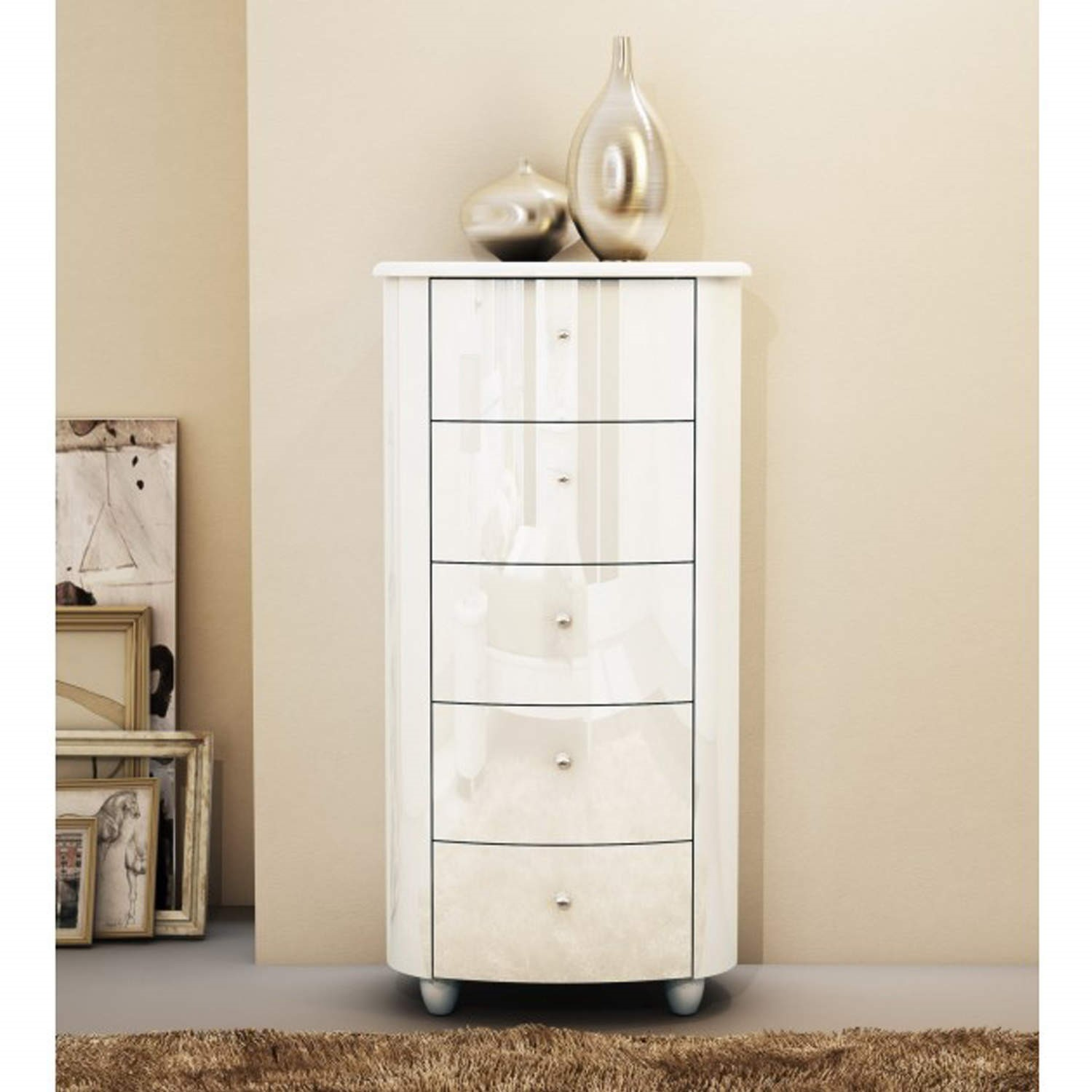Birlea Furniture Aztec  Drawer Narrow Chest In White High Gloss