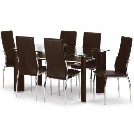 Julian Bowen Boston Glass Dining Table In Brown Furniture123