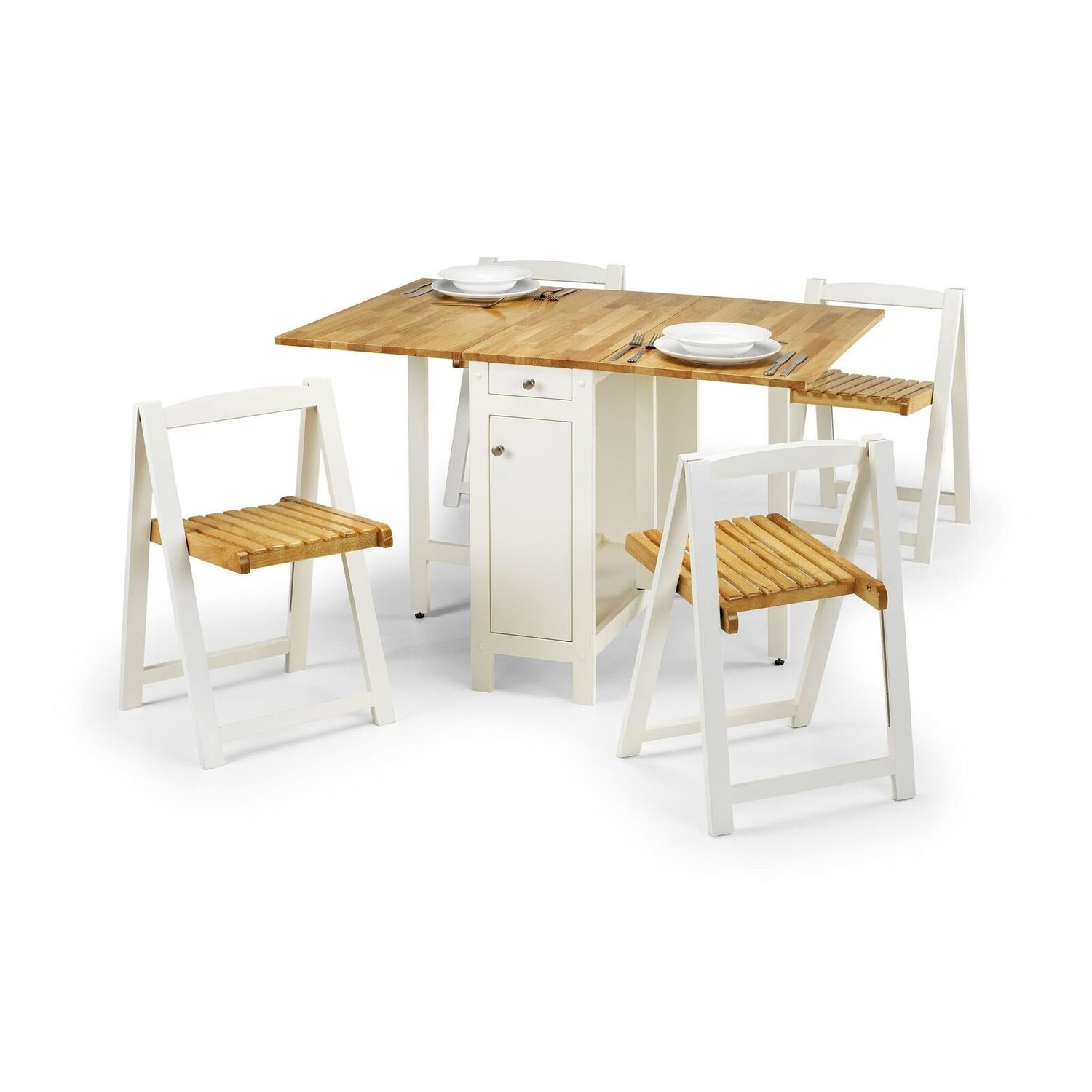 - Butterfly Folding Dining Set In White & Oak - Seats 4 - Julian