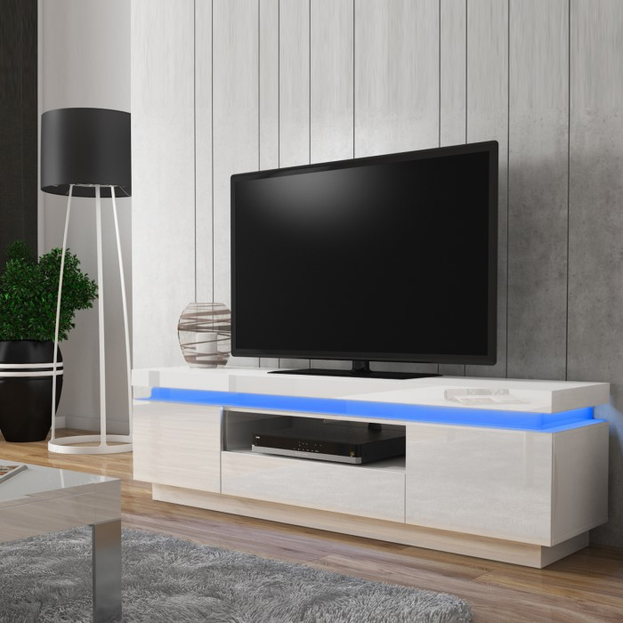 Evoque Led Light Effects White High Gloss Tv Unit Furniture123