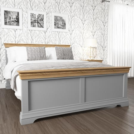 Loire Two Tone Kingsize Bed Frame in Grey and Oak | Furniture123