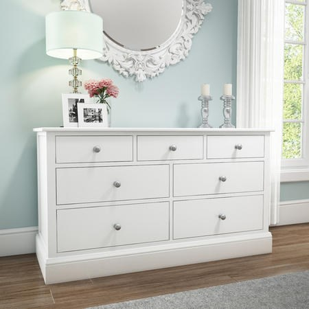 Harper White Solid Wood 4 3 Wide Chest Of Drawers