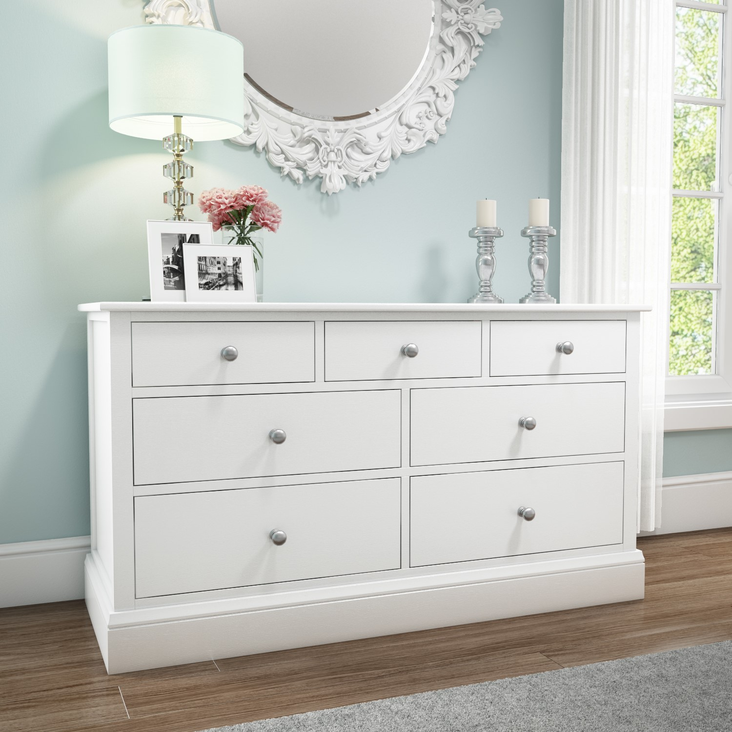 Harper White Solid Wood  Wide Chest Of Drawers